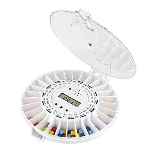 TabTime Dispensador de pastillas electrónico, hasta 6 alarmas al día. Las instrucciones y los discos están en español. Tapa transparente bloqueable. Una herramienta imprescindible que ayuda las personas mayores y las que sufren de las enfermedades de Alzheimer o demencia a tomar sus medicinas a tiempo