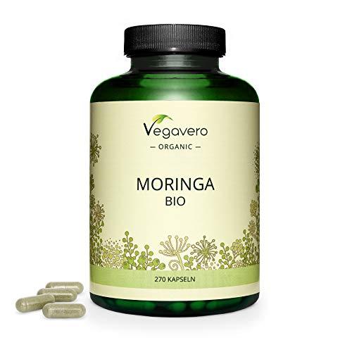 BIO Moringa Oleifera Vegavero   La Dosis Más Alta: 1800 mg   270 Cápsulas   Superfood: Proteínas, Vitaminas, Minerales y Omega 3   Antioxidante   Libre de Aditivos   Vegana   Superalimentos