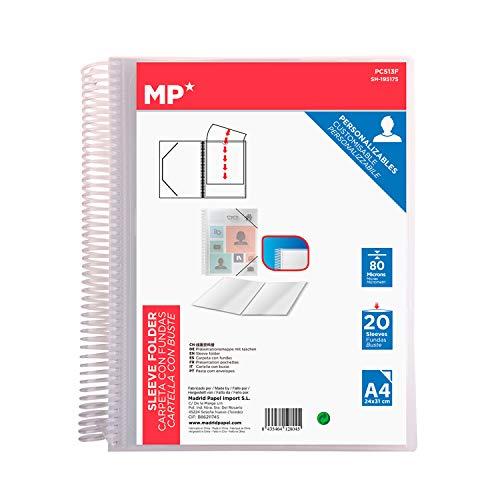 MP - Carpeta Clasificadora con Anillas, 20 Fundas A4 con Portada Personalizable