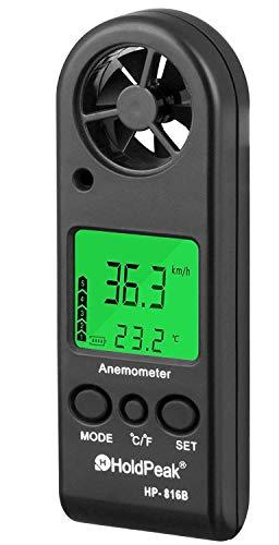 Holdpeak 816B Anemómetro Digital de Mano, Medidor de Velocidad del Viento Calibrador,Mida la Velocidad del Flujo de Aire con Frialdad de Viento y Luz de Fondo para Windsurf Cometa Navegando Navegando