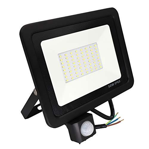 POPP Foco LED 50W Exterior con Sensor Movimiento PIR, 5000 lumen, Foco LED Sensor IP65 Impermeable, Blanco Frío 5000 K, Ángulo de haz 120°, Foco LED Detector para Jardín, Garaje, Hotel, Patio, etc.