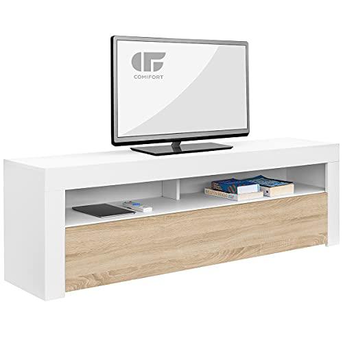 COMIFORT Mueble de TV - Mesa de Salón de Estilo Moderno con Puerta Abatible con Estantes de Gran Almacenaje, Muy Resistente, Fabricada en Europa, Color Blanco y Roble