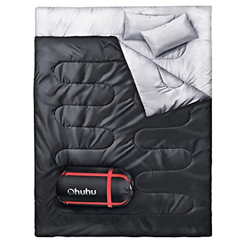 Ohuhu Saco de Dormir Doble Enorme con 2 Almohadas Gratis y una Bolsa de Transporte, Cuatro Doble Tiradores de la Cremallera - Temperatura Cómodo: 0 ° C / 32F ~ 10 ° C / 50F (Negro)