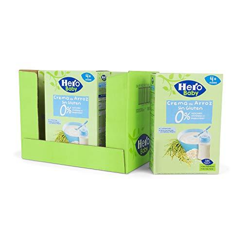 Hero Baby - Papilla de Crema de Arroz sin Gluten y sin Azúcares Añadidos, para Bebés a Partir de los 4 Meses - Pack de 6 x 220 g