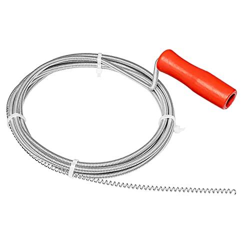 Nirox Desatascador de desagües 3m x 5mm - Desatascador espiral manual ideal para quitar el pelo de los desagües - Desatascador tuberias manivela con mango de madera giratorio