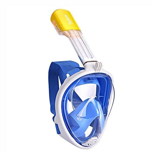 Flyboo Máscara de Snorkel, 180 °Vista Máscara de Buceo con diseño panorámico de Cara Completa GoPro Compatible Máscara de Buceo para Adultos y niños
