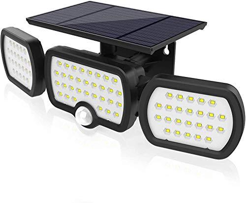 Luz Solar Exterior, JESLED 3 modos de iluminación Luz solar de seguridad, Con iluminación gran angular de 360°, Clasificación de impermeabilidad IP65, Apto para garaje, jardín
