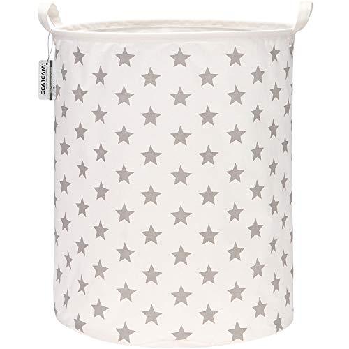 Sea Team - Cesta de almacenamiento de lona de arpillera cilíndrica de 19,7 pulgadas con revestimiento impermeable de gran tamaño, tela de algodón de ramio, plegable, con diseño de estrellas grises