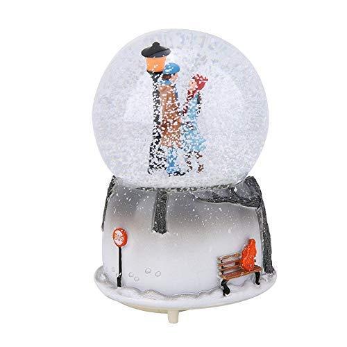 AUNMAS LED Musical Globo de Nieve Los Amantes Forma Lámpara de Luz Caja de Música Luz de Noche Ornamento de Escritorio Decoración para el hogar