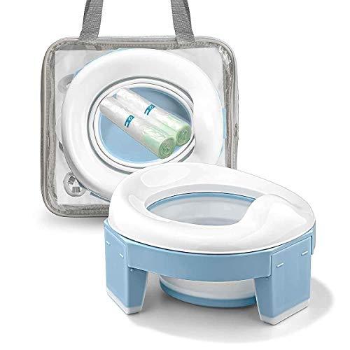 Asiento Inodoro Plegable para Niños 3 in 1 Orinal Portátil Reductor WC para Bebé con Piezas a Prueba de Salpicaduras Adaptador pare Casa y Viaje (Azul Color)