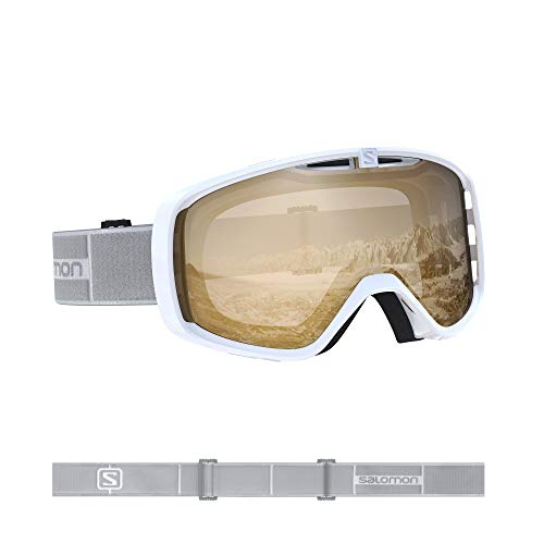 Salomon, Aksium Access, Máscara de esquí unisex, Blanco/Naranja (Universal Tonic), L40846100