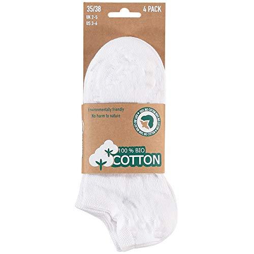 8 pares de calcetines de algodón orgánico, sin costuras, certificado Öko-Tex Standard 100 Blanco 43-46