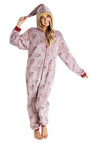 HARRY POTTER Pijama de Una Pieza para Mujer Que Brilla en La Oscuridad,Pijamas Enteros Super Suaves con Capucha de Mago, Disfraz, Ropa de Dormir para Chica, Regalos Mujer (Granate, M)