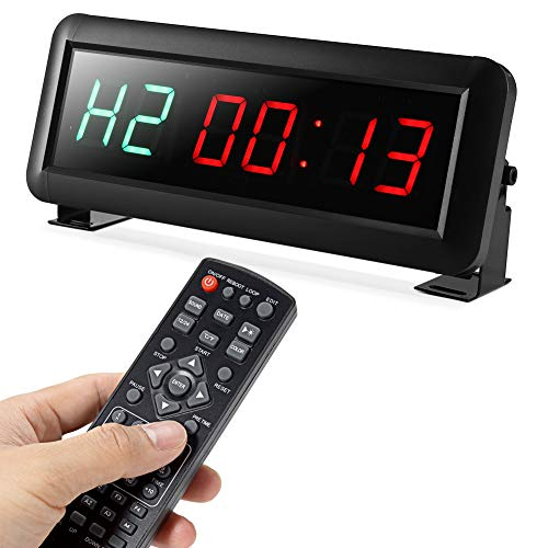 PELLOR Temporizador con Pantalla LED, Reloj de Pared 6 Dígitos LED Temporizador de Intervalos, Reloj en Tiempo Real de 12/24 Horas, Gym Temporizador con Control Remoto (Volumen Ajustable)