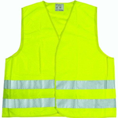Cartrend 50130 Chaleco reflectante de averías amarillo tamaño XL, DIN EN 20471 en práctica bolsa textil con cierre de cremallera