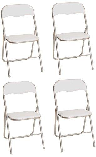 La Silla Española - Pack 4 Sillas plegables fabricadas en aluminio con asiento y respaldo acolchados en PVC, modelo Sevilla. Color blanco. Medidas 78x43,5x46 cm