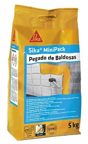 Sika MiniPack Pegado de baldosas, Gris, Adesivo cementoso semiflexible para el pegado de piezas cerámicas en capa fina, Clase C1T, 5kg