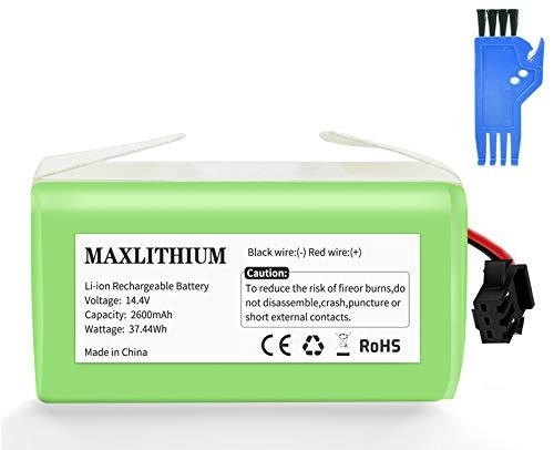 maxlithium Batería Compatible con Conga Excellence 990 950 1090 Deebot N79 Eufy RoboVac 11 11S 30 30C 12 35C, 14.4V 2600mAh Li-Ion Batería de Reemplazo con Cepillo