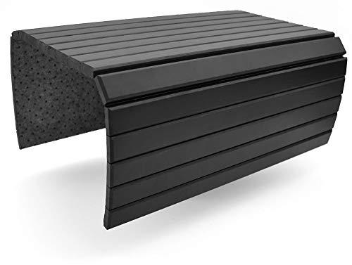 D&D Living Bandejas brazos de sofá   Bandeja flexible para apoyabrazos de madera natural (bandeja con 50x35 cm, negra)   Bandeja sofá reposabrazos