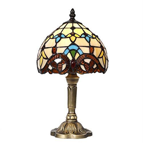 Artpad decoración mediterránea, lámpara de mesita de noche barroca, con enchufe e interruptor de la UE, coloreado, pantalla de vidrio, lámpara de mesa retro vintage, lustre LED