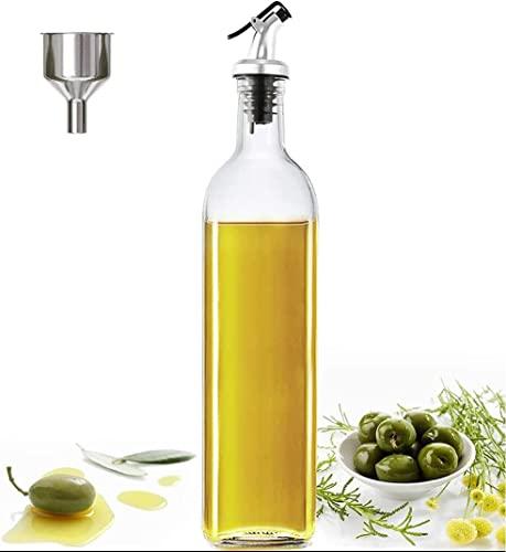 Botella Aceite Dispensador de Vinagre y Aceite de Vidrio con Pico Vertedor Dispensador de Aceite de Oliva con Tapón Anti-suciedad, 500 ml