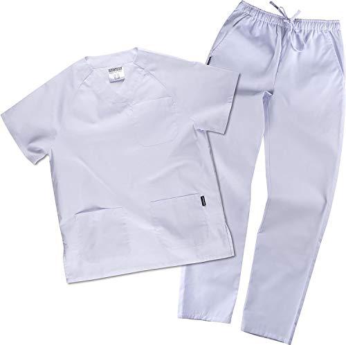 Work Team Uniforme Sanitario, con elástico y cordón en la Cintura, Casaca y Pantalon Unisex Blanco 3XL