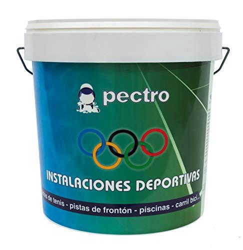Pintura pistas deportivas PECTRO 4 L (5,7 KG) Pintura para pavimentos instalaciones deportivas en colores verde rojo gris blanco azul (Gris)