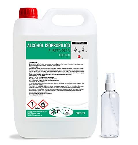 Ecosoluciones Químicas ECO-301 | 5 L | Alcohol Isopropílico 99,9% Puro | Limpieza componentes electrónicos, Objetivos, Pantallas. Desinfección y Limpieza Superficies. Incluye PULVERIZADOR 100 ML