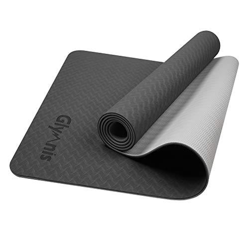 Glymnis Esterilla Yoga Antideslizante Colchoneta Yoga Mat Esterilla Deporte de Material Ecológico TPE Esterilla Pilates con Correa 183mm x 61mm x 6mm Negro