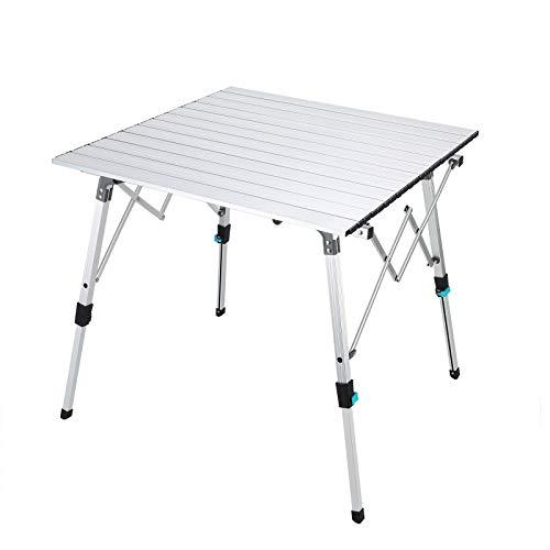 Synlyn Mesa Plegable portátil de Aluminio para Camping, Mesa de jardín de Aluminio, Mesa de Viaje Ajustable en Altura para Acampar, Picnic, Cocina, jardín, Senderismo, Viajes