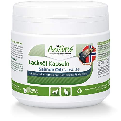 AniForte Cápsulas de Aceite de salmón para Perros y Gatos 500 – Son un valioso Aceite de Pescado Omega-3 para el metabolismo y la formación de Huesos, suplemento de Barf, vitaminas