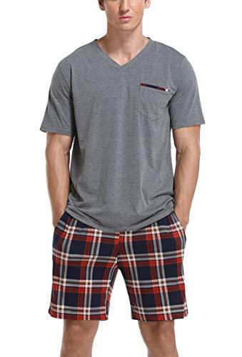Vlazom Conjunto de Pijamas para Hombres Ropa de Dormir de Verano de Algodón Tops y Pantalones Cortos de Manga Corta Ropa de Salón,L,B-Gris