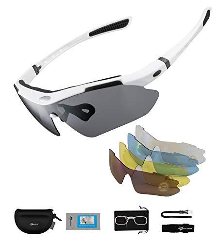 ROCKBROS Gafas de Sol Polarizadas con 5 Lentes Intercambiables para Ciclismo Bicicleta Running Deportes Protección UV 400 Anti Viento para Hombre y Mujer