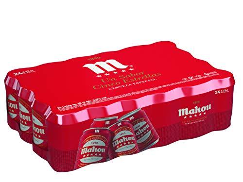 Mahou 5 Estrellas Cerveza Dorada Lager - Pack de 24 Latas x 33 cl - 5,5% Volumen de Alcohol