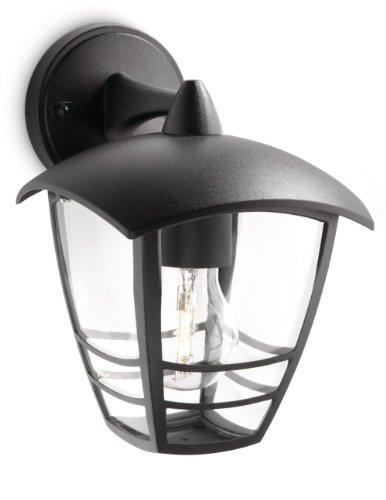 Philips MyGarden Creek Aplique de exterior, con brazo, casquillo gordo E27, bombilla no incluida, 24 cm, negro