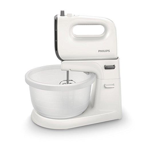 Philips Daily HR3745/00 - Batidora Amasadora, 450w, 5 Velocidades, Bowl incluido, Color Blanco