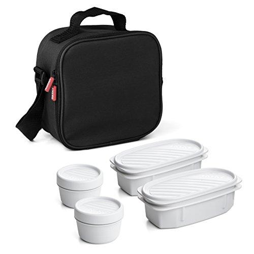 Tatay Urban Food Casual - Bolsa Térmica Porta Alimentos, 3 L de Capacidad, con 4 Tuppers Herméticas, 2 x 0.5 L, 2 x 0.2 L, Color Negro,Medidas 22.5 x 10 x 22 cm