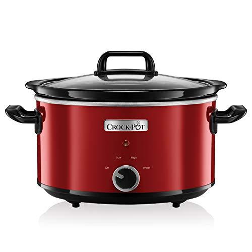 Crock-Pot SCV400RD Olla de cocción lenta manual para preparar multitud de recetas, 210 W, 3.5 litros, Acero Inoxidable, Rojo