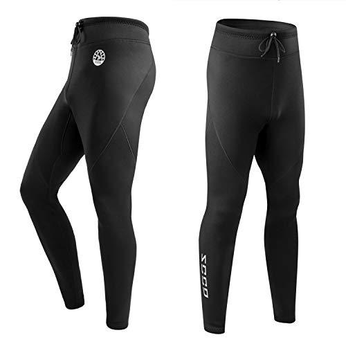 ZCCO Pantalones de Neopreno para Hombre, Pantalones Largos de Neopreno de 1,5 mm para Hacer Surf, Kayak, natación, Buceo, piragüismo (Negro, S)