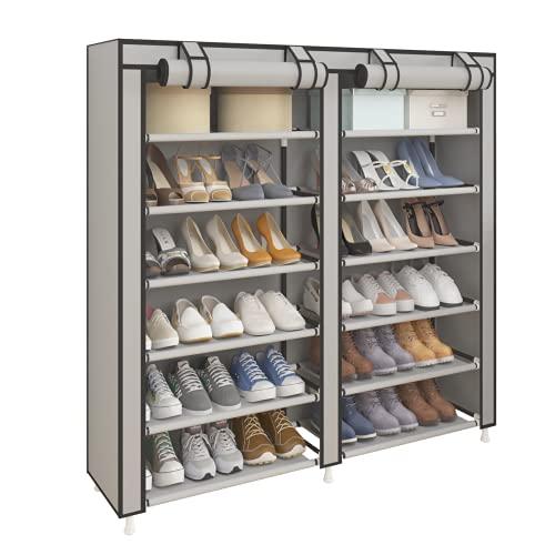 UDEAR Shoes Rack Organizador de Tela de Zapatos, Zapatero 7 Pisos con Resistente al Polvo Gris