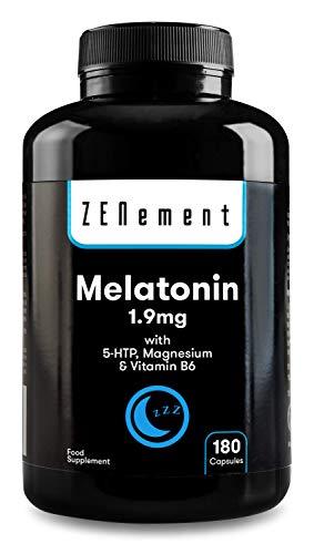 Melatonina 1,9 mg con 5-HTP, Magnesio y Vitamina B6, 180 Cápsulas   Ayuda con el insomnio o trastornos del sueño   Vegano, No-GMO, GMP, libre de aditivos, sin Gluten   de Zenement