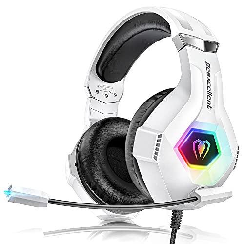Cascos Gaming PS4, Auriculares con Microfono Ajustable de 360 ° para PS4 PS5 Xbox One PC Laptop, Cascos PS4 con 3D Premium Stereo, Orejeras Ligero Cómodo y Diadema Ajustable, Luz RGB