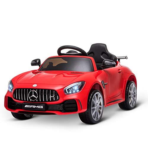 HOMCOM Coche Eléctrico para Niños Mercedes GTR con Licencia +3 Años Batería 12V con Mando a Distancia Música Faros Puerta de Doble Apertura Carga 25kg 105x58x45 cm Rojo