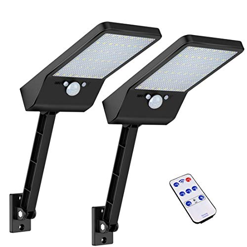 Luces solares al aire libre, Super brillante 48 LEDs, IP65 impermeable con control remoto, luces solares del sensor de movimiento con 3 modos para el jardín, camino, entrada (2PACK)