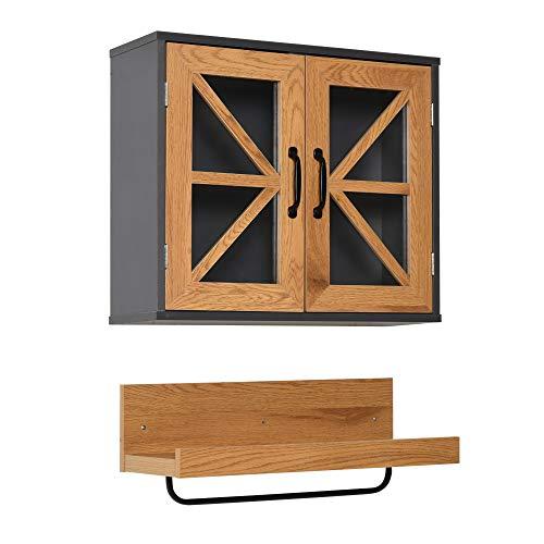 kleankin 2 Muebles de Baño Colgante Armario y Estante Abierto de Pared con Toallero y Puertas de Vidrio de Cierre Magnético Cocina 61x19,5x51 cm Madera Natural