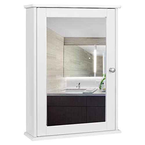 EUGAD Armarios con Espejo para Baño Cocina Mueble Espejo para Baño Mueble de Pared de baño Espejo con Estante Mueble Joyero de Madera 42 x 58,5 x 12 cm Blanco 0019WY