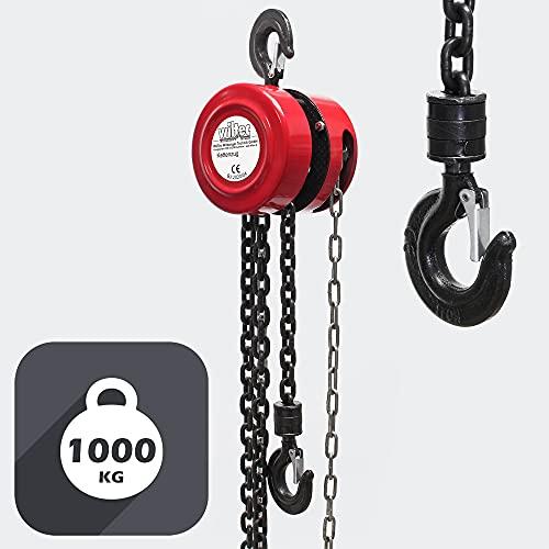 Polipasto manual de cadena 1000kg con cadena 3m, elevación de cargas forestales, en talleres, etc.