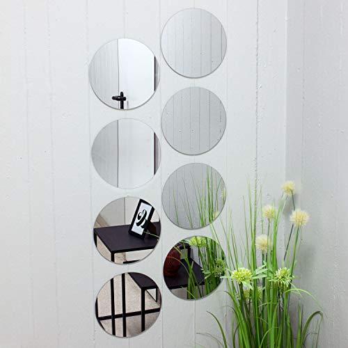 Juego de baldosas de espejo redondo de 8 cada uno Ø20cm azulejo de espejo azulejo espejo espejo decorativo decoración de la pared