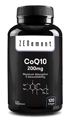 Coenzima Q10 200 mg, 120 Perlas | 100% Natural CoQ10, No-GMO, Sin Gluten | de Zenement