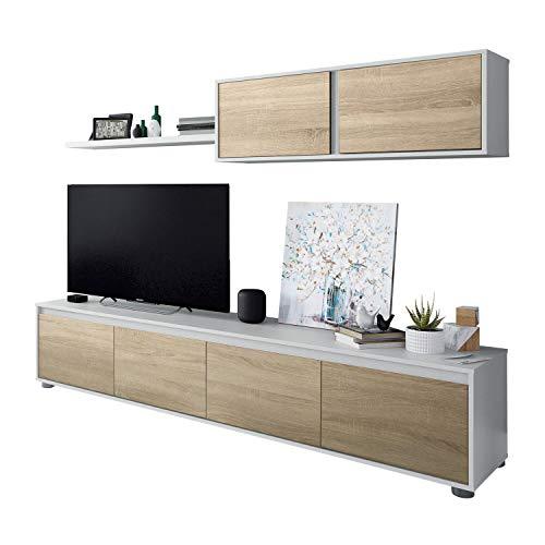 Habitdesign Mueble de Salon Moderno, Modulos de Comedor, Modelo Alida, Acabado en Blanco Artik y Roble Canadian, Medidas: 200 cm (Ancho) x 43 cm (Alto) 41 cm (Fondo)